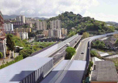 Galleria fonica di mitigazione acustica Pra' Palmaro - simulazione su Autostrada A10