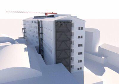 Adeguamento sismico dell'ospedale di Chioggia simulazione 3d