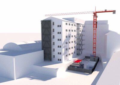Adeguamento sismico dell'ospedale di Chioggia, simulazione 3d del cantiere