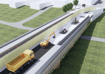 Ponte stradale Pontelungo sul fiume Reno fase 2 di cantiere