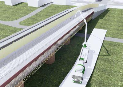 Ponte stradale Pontelungo sul fiume Reno fase 5 di cantiere