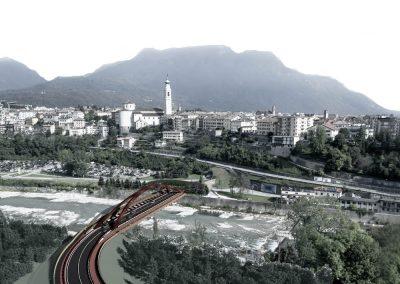 ponte sul piave belluno fotoinserimento con città